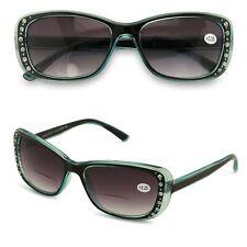 Women Bifocal Reading Sunglasses Reader Glasses Fashion Rhinestone Translucent