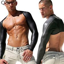 S-2XL Black Long Sleeve Faux Leather Mesh Bodysuit Vest Lingerie Gay Men Tops