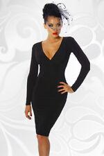 rückenfreies Abendkleid schwarz Stretch Material langarm Cocktailkleid XS-XL
