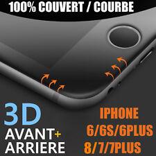 iPhone 8/ 6/6S/7/Plus VITRE VERRE TREMPE 3D Film Protection Ecran Avant+ Arrière