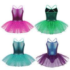 Mädchen Meerjungfrau Kostüm Ballettkleid Fischschuppen Tanz Kleid Karneval Party
