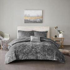 Luxury Solid Grey Lush Velvet Comforter Set AND Decorative Pillow