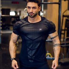 Compression Quick dry T-shirt Men Running Sport Skinny Short Tee Shirt Male Gym