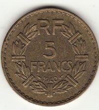 RARE 5 FRANCS LAVRILLIER BRONZE ALU 1940 TTB !
