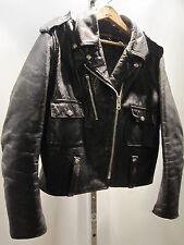 Vintage Harley Davidson 70s Black Leather MotorCycle Queen Jacket Coat Biker 42