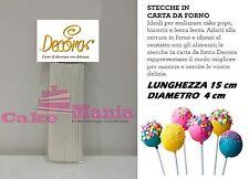 STECCHE IN CARTA DA FORNO PER CAKE POPS DECORA LECCA LECCA LUNGHEZZA 15cm