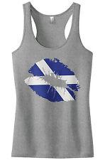 Threadrock Women's Scotland Flag Lips Scottish Kiss Racerback Tank Top Scots