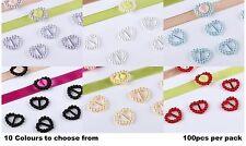 CraftbuddyUS100pc Heart Ribbon Slider Buckles  Wedding Invitation Card Craft DIY