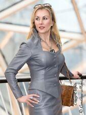 Lederjacke Leder Jacke Stahlgrau Business-Style Größe 32 - 58 XS - XXXL
