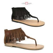 3952c6fbab4 New Women Gladiator 2 Layer Fringe Ankle Flat Thong Tassel Sandal Zipper  Cesar