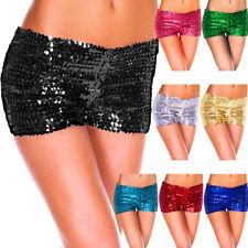 Juniors Sequin Shorts Ladies Mini Pants Boy Leg Dance Wear 1980s Costume Party