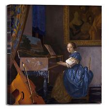 Vermeer donna alla spinetta 2 quadro stampa tela dipinto telaio arredo casa