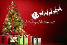 Merry Christmas Santa Wall Art vinyl window sticker Xmas sleigh decal