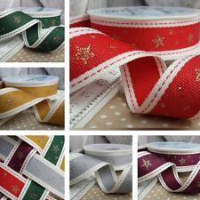 Cotton Twill Saddle Stitch Christmas Ribbon with Gold / Silver Glitter Stars