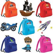 Personalised Embroidered Kids Name Boys Childrens School Bag Backpack Rucksack