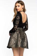 Lace Sheer BLACK IVORY Damask chain detailed Bodysuit long sleeves leotard S M L