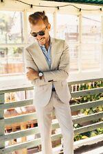 Men Beige Peak Lapel Suit Groom Tuxedo Wedding Dinner Formal Suits Blazer Custom