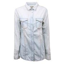 C4384 camicia jeans donna TOP-TEE azzurro chiaro shirt woman