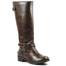 Girls Kids Brown Faux Leather w Buckle Full Side Zipper Knee High Boot Soda Bio