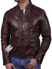 Vintage Hombres Cuero Biker Chaqueta Hombres Cuero Biker Jacket entallada Abrigo Prendas de abrigo