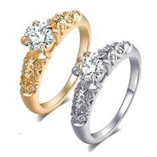 BAGUE ANNEAU ACIER OR ARGENT STRASS FIANCAILLE HOMME FEMME ALLIANCE MARIAGE R513
