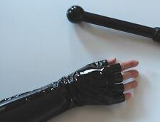 PVC Mitts Mittens Fingerless Opera Gloves Liquid Vinyl Goth Black  S M L XL