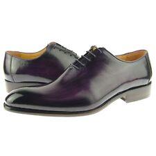 Carrucci Plain Toe Wholecut Oxford, Men's Dress Leather Shoes, Purple