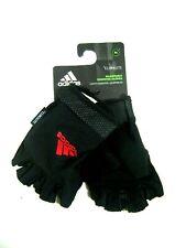 Adidas Women's Adjustable Essential Gloves Half Finger Size Medium Black Red