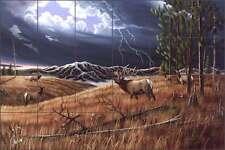 Ceramic Tile Mural Backsplash Kendrick Elk Wildlife Art POV-LKA007