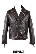 Men's BRANDO STUDS BLACK Cruiser Biker Style Motorcycle Cowhide Leather Jacket