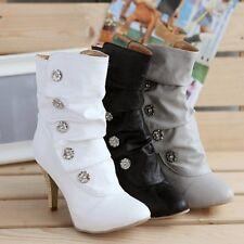 Women Ladies Ankle Mid Calf Boots HIgh Stiletto Heel Button Rivet Button Shoes