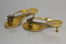New Manolo Blahnik Jewel Thong SANDALS Slides Gold Kitten Shoes 35.5 40.5