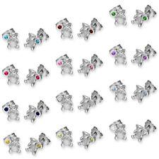 925 real de plata esterlina CZ Cristal Piedra Teddy Bear & Stud Pendientes Tachuelas