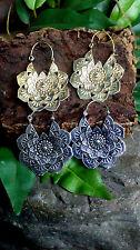 Tribal Indian Brass earrings Hippy Boho Goa psy pixie Gold mandala lotus India