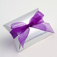 SILVER TEXTURED PILLOW BUSTINA WEDDING FAVOUR BOX (Choose Your Quantity Req)
