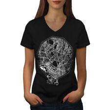 Wellcoda Tokyo City Map Fashion Womens V-Neck T-shirt, Asia Graphic Design Tee