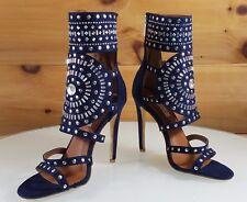 "CR Blair Navy Blue Rhinestone & Stud Design 4.5""  High Heel Shoes Boots 6-11"