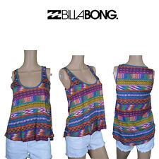 Billabong Womens Sleeveless Tank Top Muscle Retro Print Surf Brand Summer BB1.3