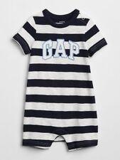 NWT BABY GAP shorts logo romper shorty   one-piece navy stripe  you pick size