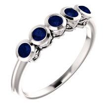 Genuine Blue Sapphire Five-Stone Bezel Set Ring In Platinum