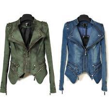 Chic Women's Punk Spike Studded Shoulder Vintage Denim Jacket coat Size S-XXL