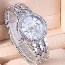 Elegant Women's Silver Crystal Bracelet Watch Stainless Steel Alloy Quartz Watch