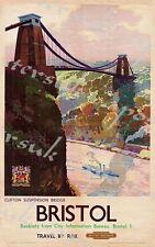Vintage Brit. Rail Bristol Clifton Suspension Bridge de chemin de fer affiche d'impression A3/A4