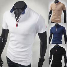 New Fashion Dandy Mens Stylish Hidden Tape Polo Pique Collar Shirts Casual W389
