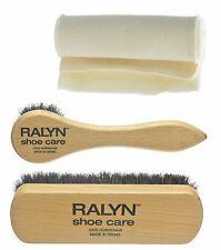 Travel shoe Shine Kit. Horse Hair Brush. Dauber, Buffing Cloth. F3