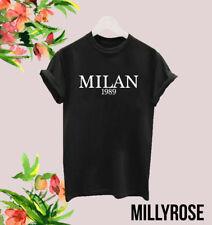 MILAN 1989 LOVE LADIES WOMENS SLOGAN WHITE BLACK T SHIRT TEE TSHIRT GIFT