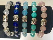Gemstone Buddha Buddah Beads Bracelet & Silver Bead Charm Healing Reiki Agate