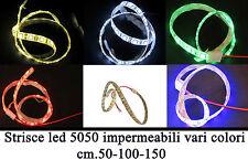 Strisce led 5050 impermeabili di cm.50-100-150 in vari colori DC12v.