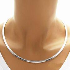 "925 Sterling Silver Domed Omega Necklace - 4 mm - 16""/18""/20"""