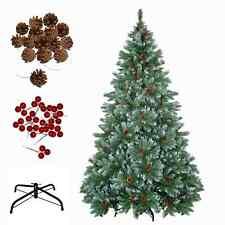 Weihnachtsbaum Tannenbaum Christbaum künstlich grün-weiss mit Zapfen und Beeren